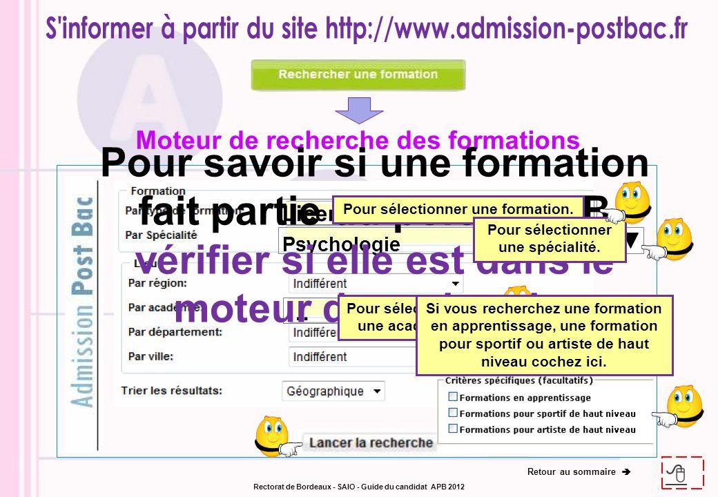 Licences Psychologie … Moteur de recherche des formations Pour savoir si une formation fait partie du portail APB vérifier si elle est dans le moteur