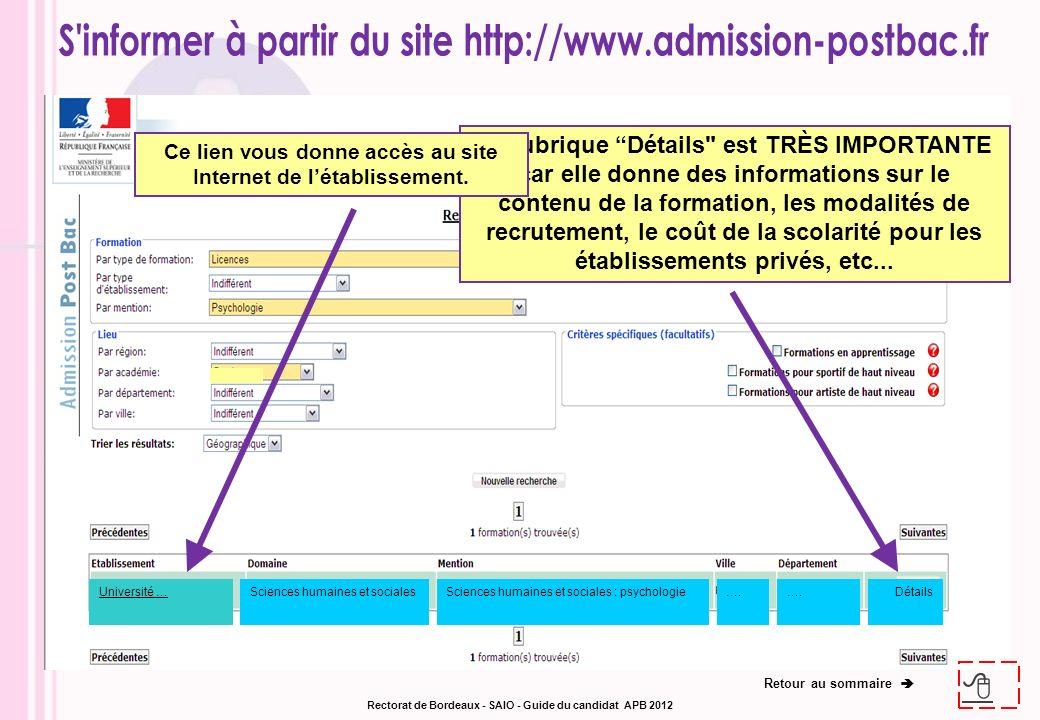 Exemple de page dinformation à partir de la rubrique détails Pour avoir des données sur la formation.