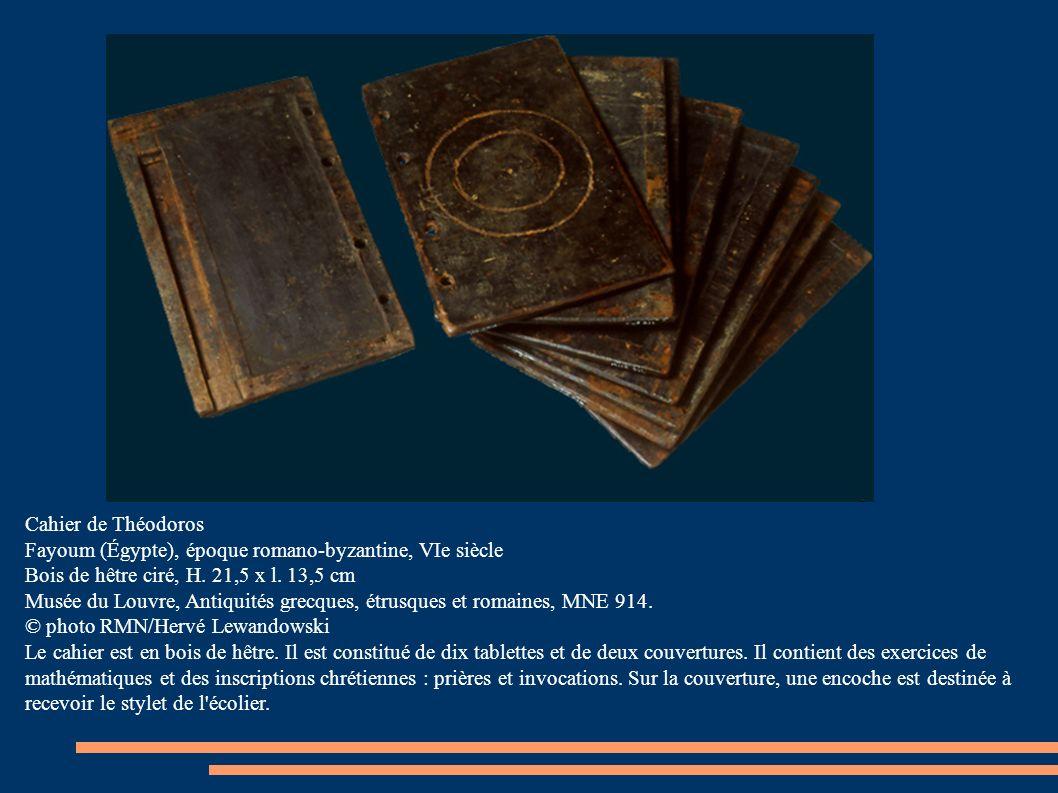 Cahier de Théodoros Fayoum (Égypte), époque romano-byzantine, VIe siècle Bois de hêtre ciré, H.