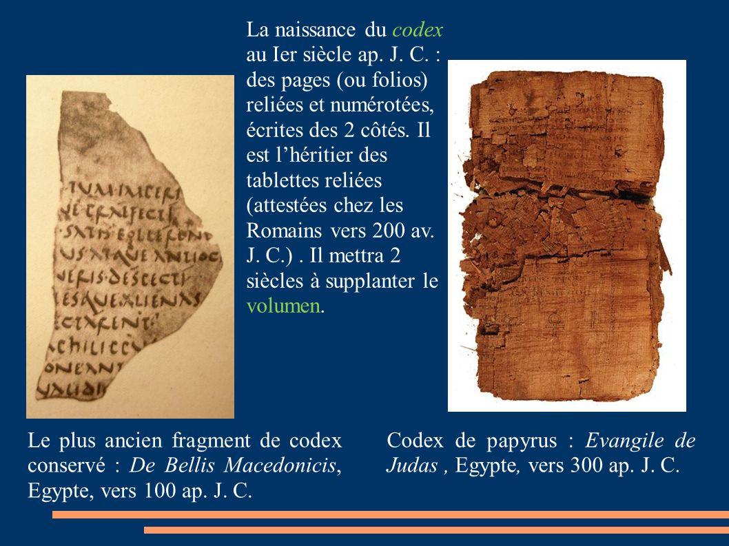 Le plus ancien fragment de codex conservé : De Bellis Macedonicis, Egypte, vers 100 ap.