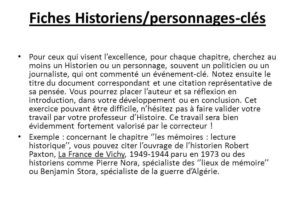 Fiches Historiens/personnages-clés Pour ceux qui visent lexcellence, pour chaque chapitre, cherchez au moins un Historien ou un personnage, souvent un politicien ou un journaliste, qui ont commenté un événement-clé.