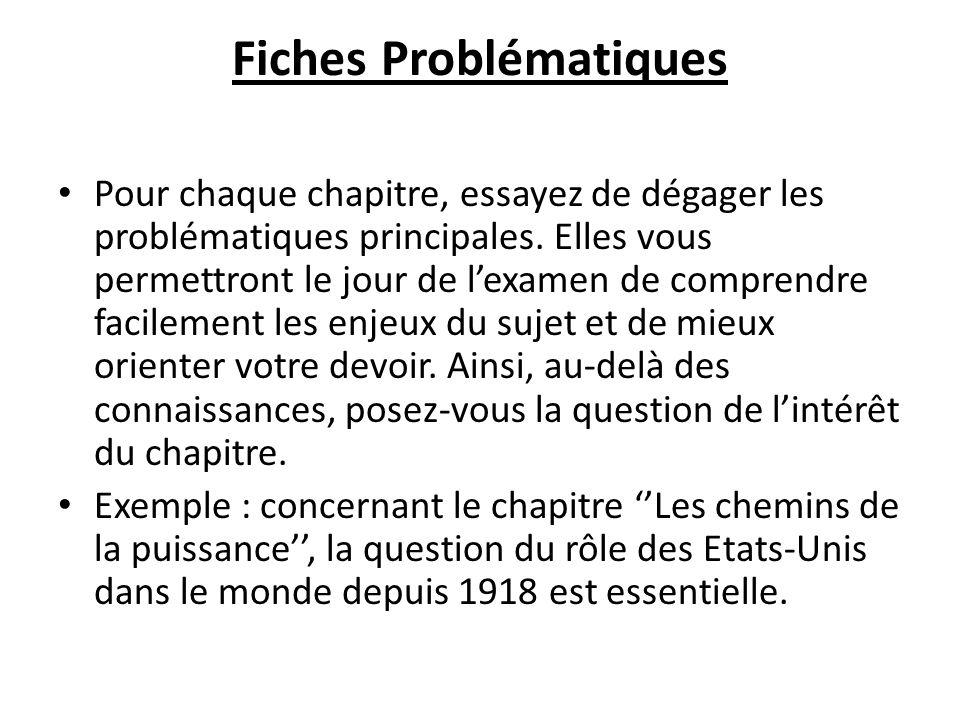 Fiches Problématiques Pour chaque chapitre, essayez de dégager les problématiques principales.