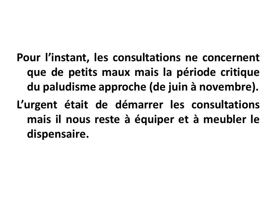 Pour linstant, les consultations ne concernent que de petits maux mais la période critique du paludisme approche (de juin à novembre). Lurgent était d