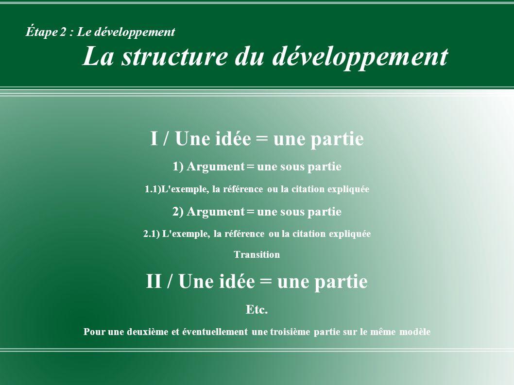 Étape 2 : Le développement La structure du développement I / Une idée = une partie 1) Argument = une sous partie 1.1)L'exemple, la référence ou la cit