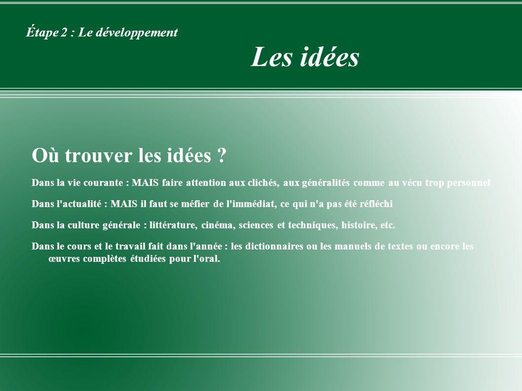 Étape 2 : Le développement Les idées Où trouver les idées ? Dans la vie courante : MAIS faire attention aux clichés, aux généralités comme au vécu tro