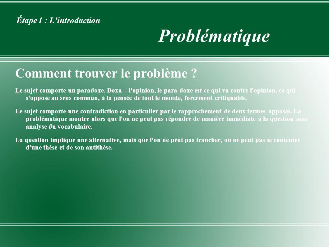 Étape 1 : L'introduction Problématique Comment trouver le problème ? Le sujet comporte un paradoxe. Doxa = l'opinion, le para-doxe est ce qui va contr