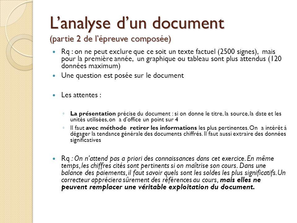 Lanalyse dun document (partie 2 de lépreuve composée) Rq : on ne peut exclure que ce soit un texte factuel (2500 signes), mais pour la première année,