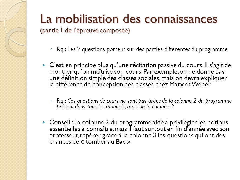 La mobilisation des connaissances (partie 1 de lépreuve composée) Rq : Les 2 questions portent sur des parties différentes du programme Cest en princi