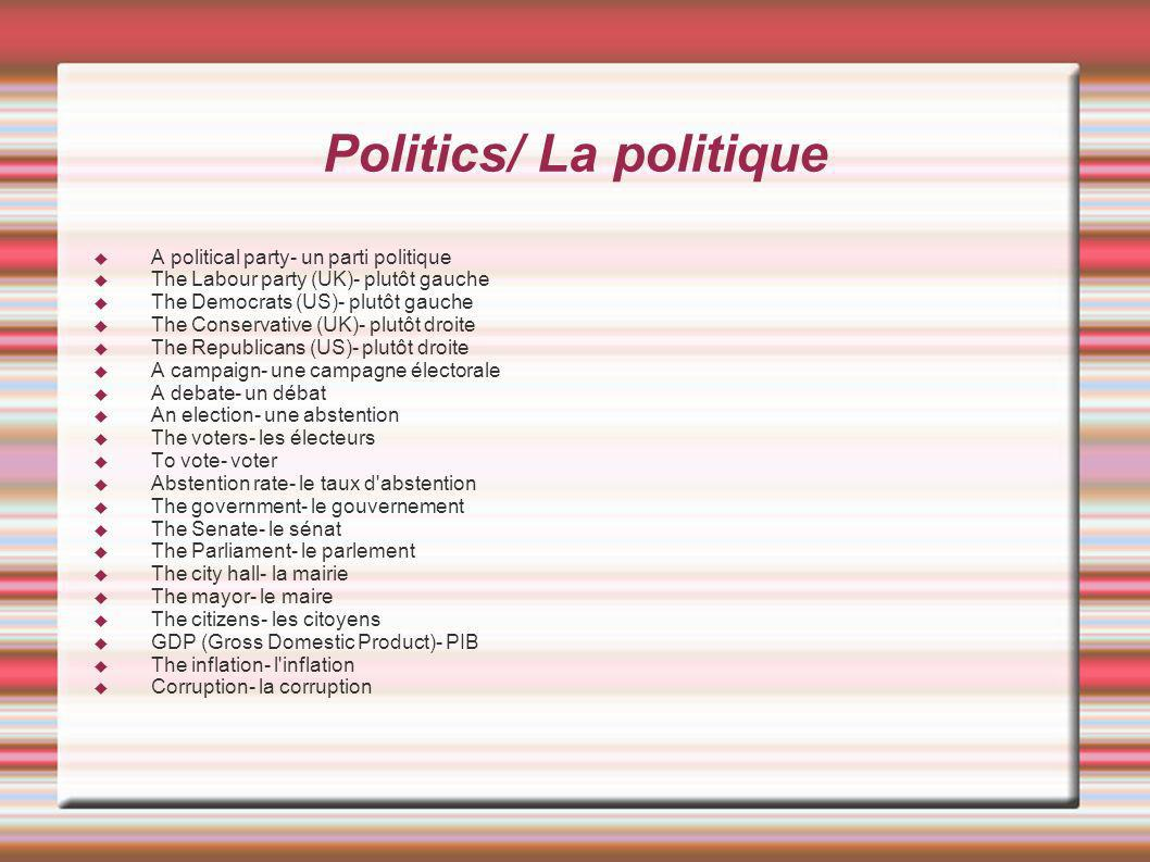 Politics/ La politique A political party- un parti politique The Labour party (UK)- plutôt gauche The Democrats (US)- plutôt gauche The Conservative (