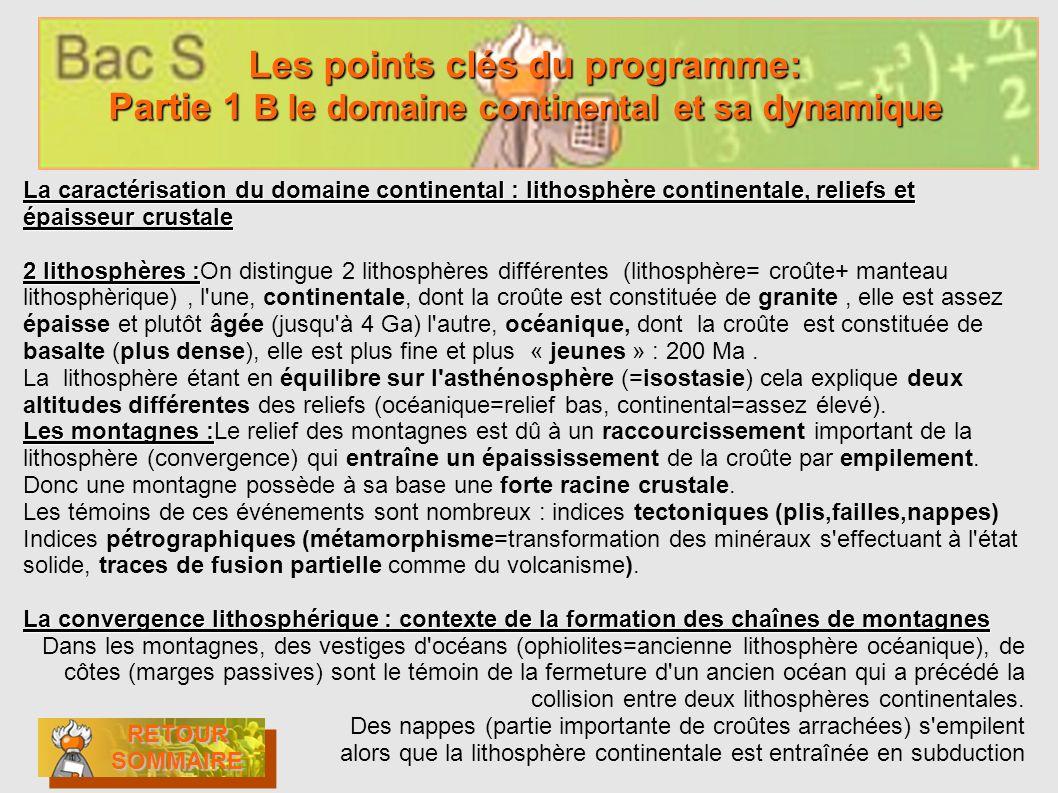 Les points clés du programme: Partie 1 B le domaine continental et sa dynamique Les points clés du programme: Partie 1 B le domaine continental et sa