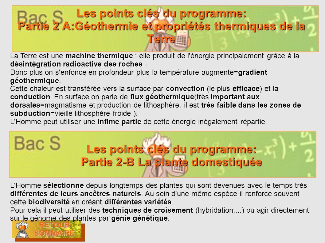 Les points clés du programme: Partie 2 A:Géothermie et propriétés thermiques de la Terre RETOUR SOMMAIRE RETOUR SOMMAIRE RETOUR SOMMAIRE RETOUR SOMMAI