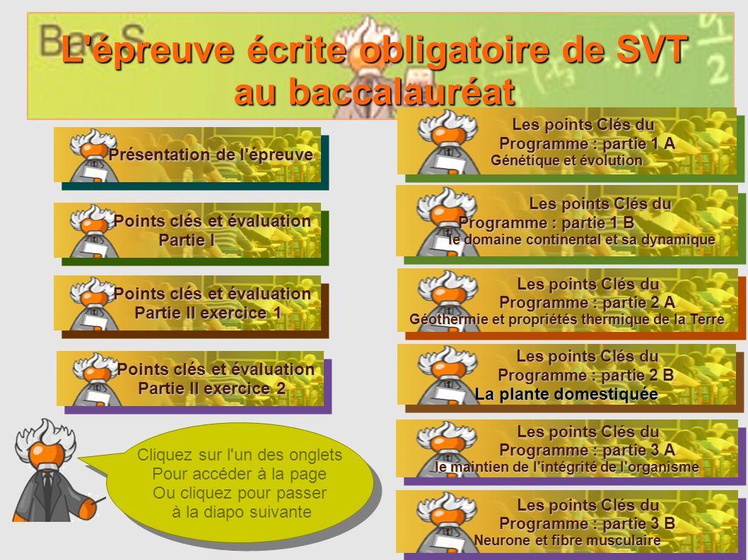 L'épreuve écrite obligatoire de SVT au baccalauréat Présentation de l'épreuve Présentation de l'épreuve Présentation de l'épreuve Présentation de l'ép