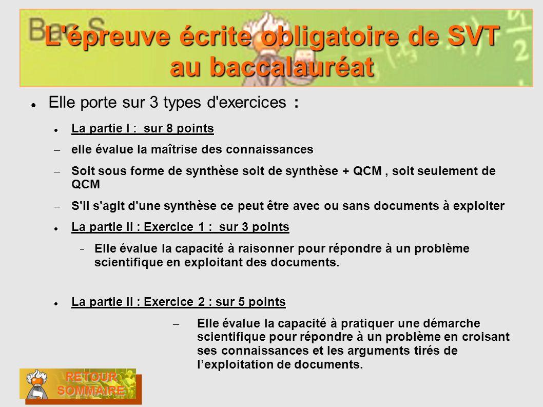 L'épreuve écrite obligatoire de SVT au baccalauréat Elle porte sur 3 types d'exercices : La partie I : sur 8 points La partie I : sur 8 points maîtris