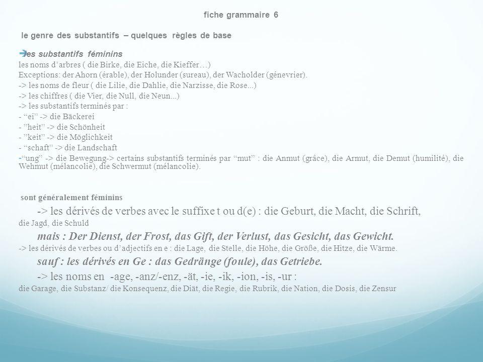 fiche grammaire 6 le genre des substantifs – quelques règles de base les substantifs féminins les noms darbres ( die Birke, die Eiche, die Kieffer…) Exceptions: der Ahorn (érable), der Holunder (sureau), der Wacholder (génevrier).