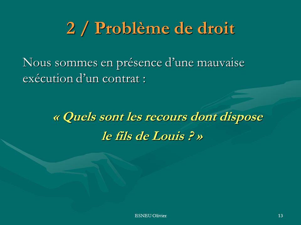 ESNEU Olivier13 2 / Problème de droit Nous sommes en présence dune mauvaise exécution dun contrat : « Quels sont les recours dont dispose le fils de L