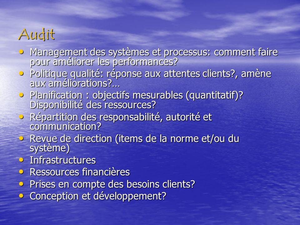 Audit Management des systèmes et processus: comment faire pour améliorer les performances? Management des systèmes et processus: comment faire pour am