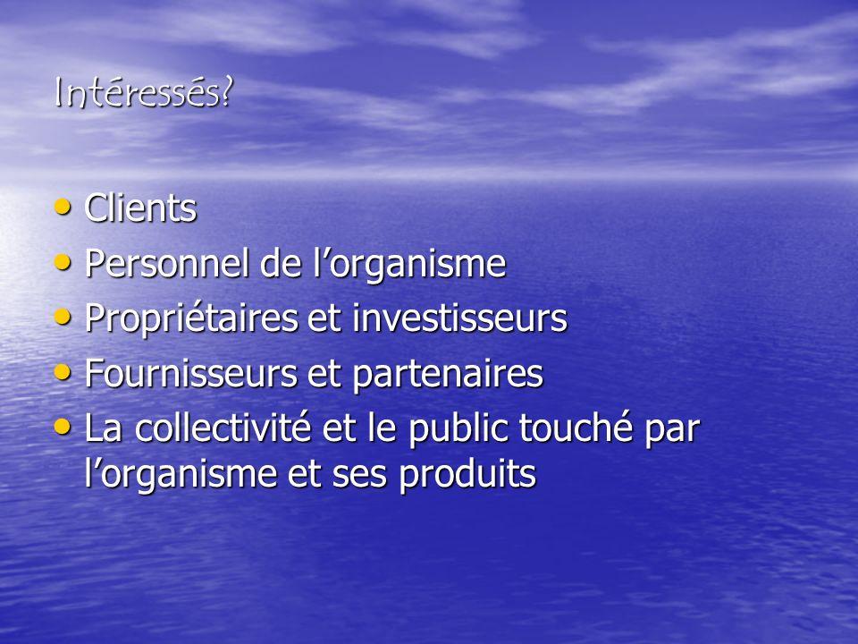 Intéressés? Clients Clients Personnel de lorganisme Personnel de lorganisme Propriétaires et investisseurs Propriétaires et investisseurs Fournisseurs