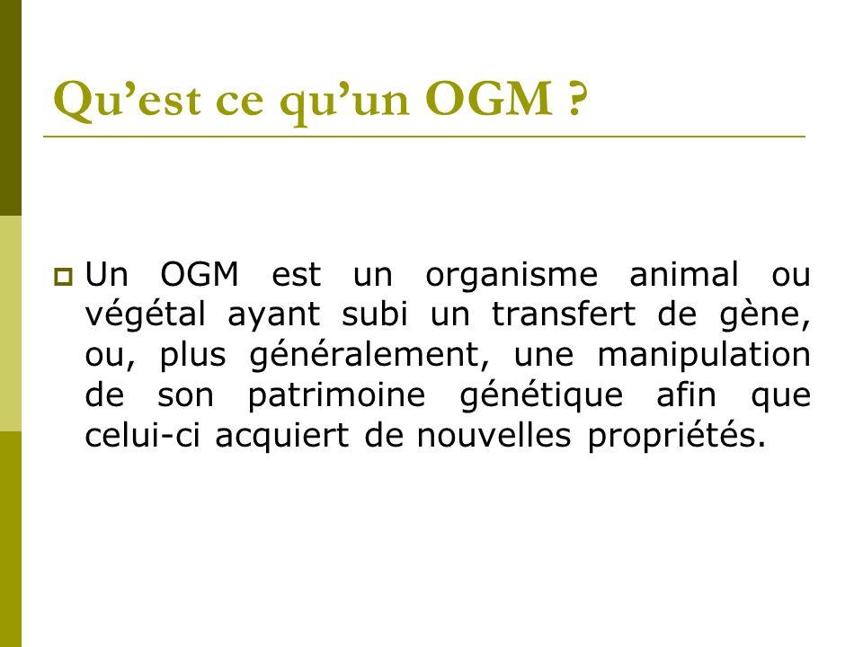 Quest ce quun OGM ? Un OGM est un organisme animal ou végétal ayant subi un transfert de gène, ou, plus généralement, une manipulation de son patrimoi