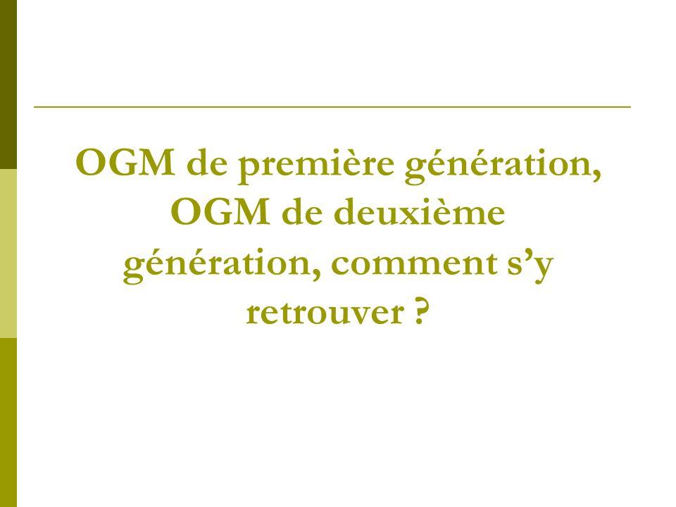 OGM 1ère génération : la productivité Pour lutter contre les agressions extérieures : tolérance aux insectes, tolérance à un herbicide, tolérance à la sécheresse.