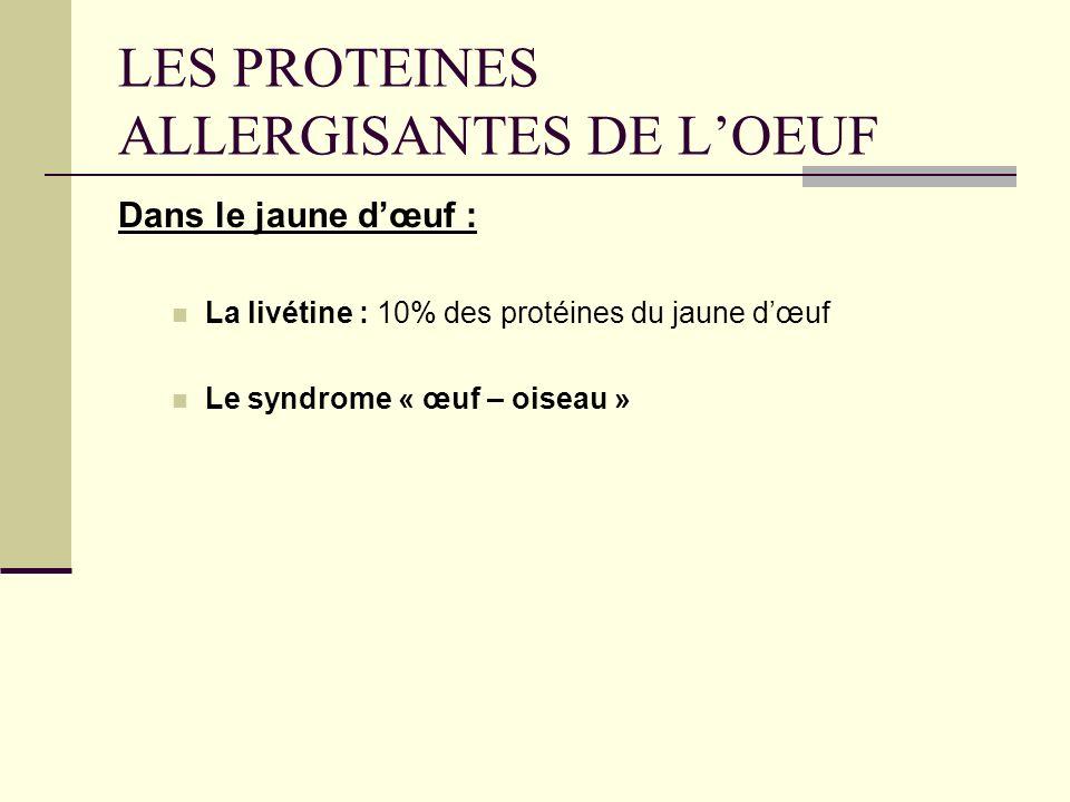 LES PROTEINES ALLERGISANTES DE LOEUF Dans le jaune dœuf : La livétine : 10% des protéines du jaune dœuf Le syndrome « œuf – oiseau »