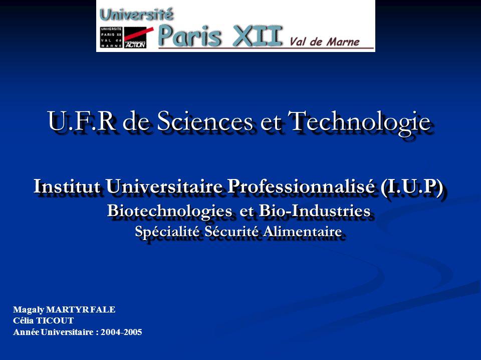 U.F.R de Sciences et Technologie Institut Universitaire Professionnalisé (I.U.P) Biotechnologies et Bio-Industries Spécialité Sécurité Alimentaire Mag
