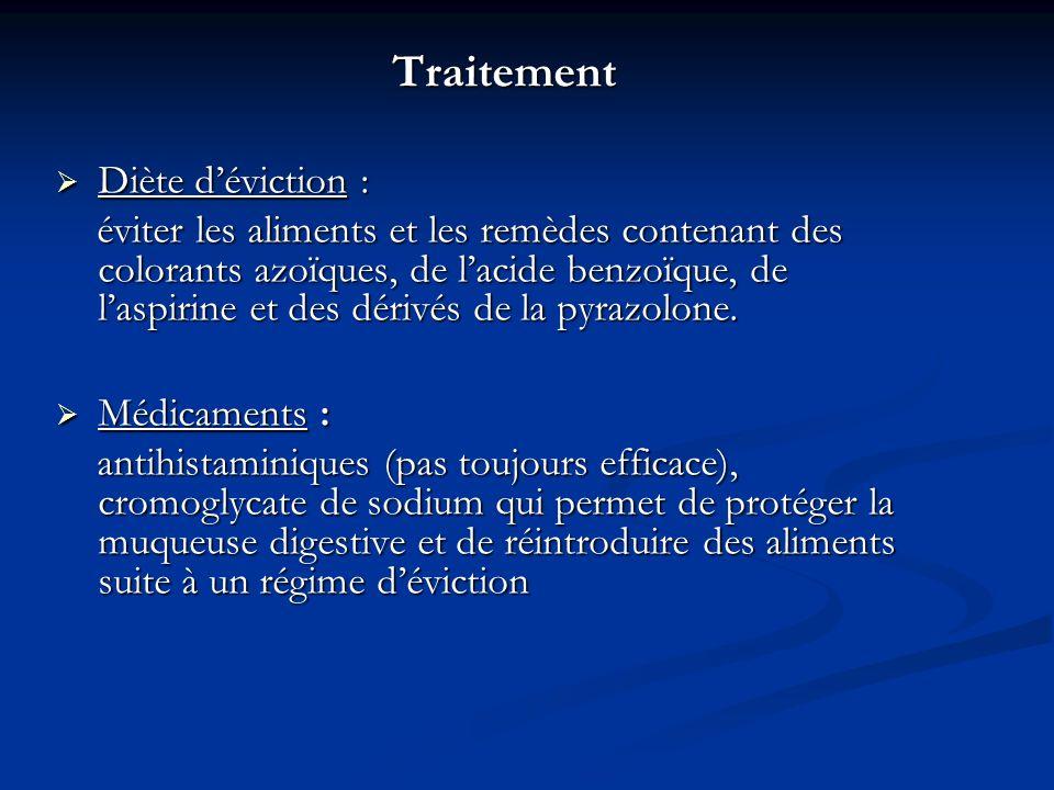 Traitement Traitement Diète déviction : Diète déviction : éviter les aliments et les remèdes contenant des colorants azoïques, de lacide benzoïque, de