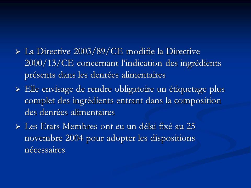 La Directive 2003/89/CE modifie la Directive 2000/13/CE concernant lindication des ingrédients présents dans les denrées alimentaires La Directive 200