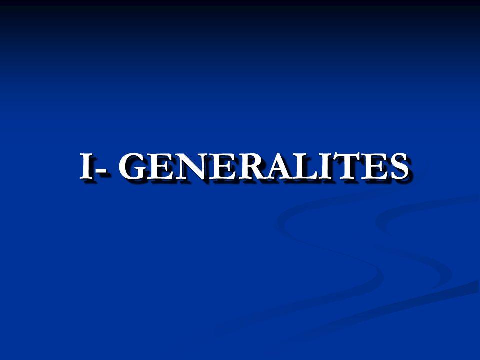 I- GENERALITES