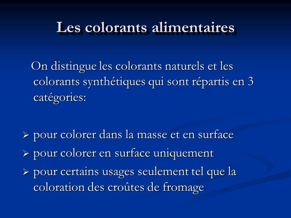 Les colorants alimentaires On distingue les colorants naturels et les colorants synthétiques qui sont répartis en 3 catégories: On distingue les color