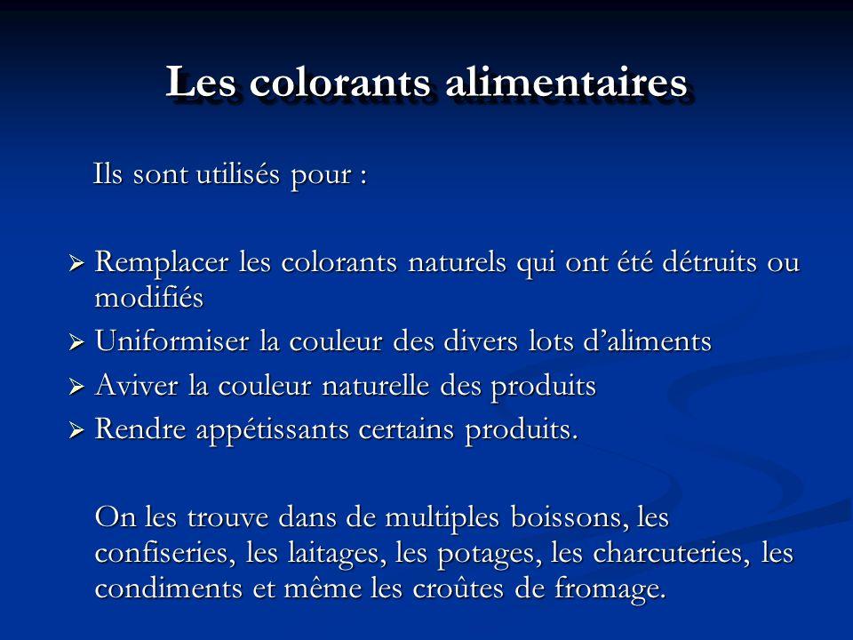 Les colorants alimentaires Ils sont utilisés pour : Ils sont utilisés pour : Remplacer les colorants naturels qui ont été détruits ou modifiés Remplac