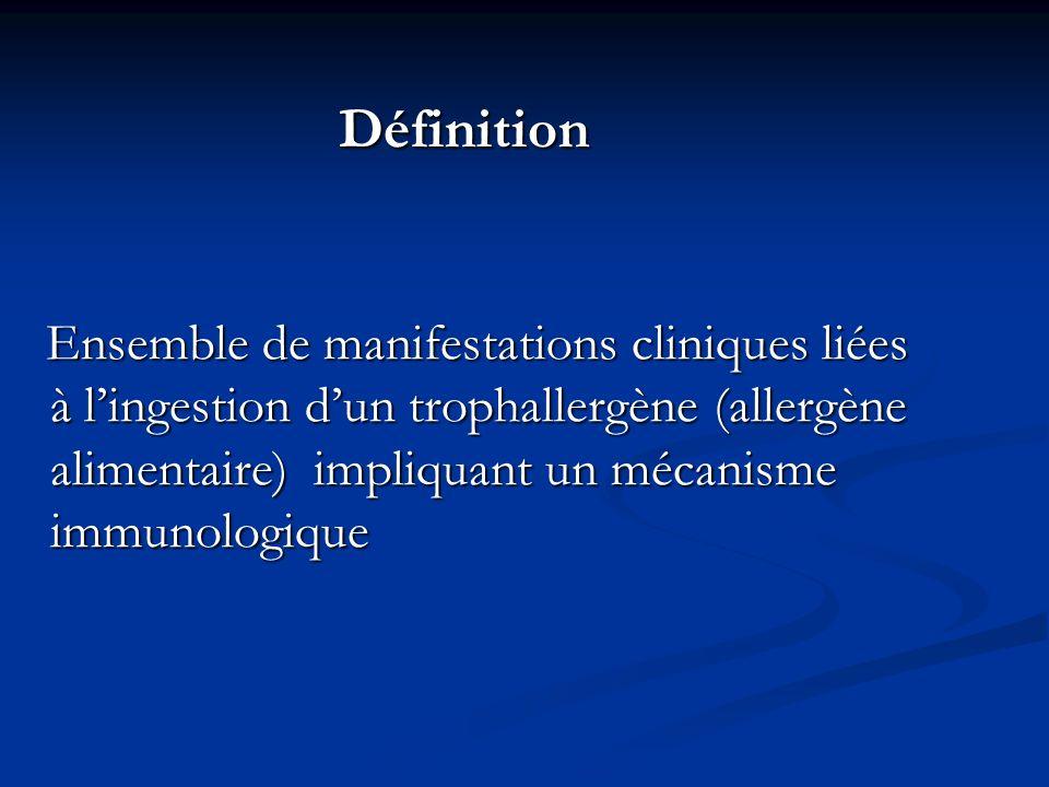 Définition Ensemble de manifestations cliniques liées à lingestion dun trophallergène (allergène alimentaire) impliquant un mécanisme immunologique En