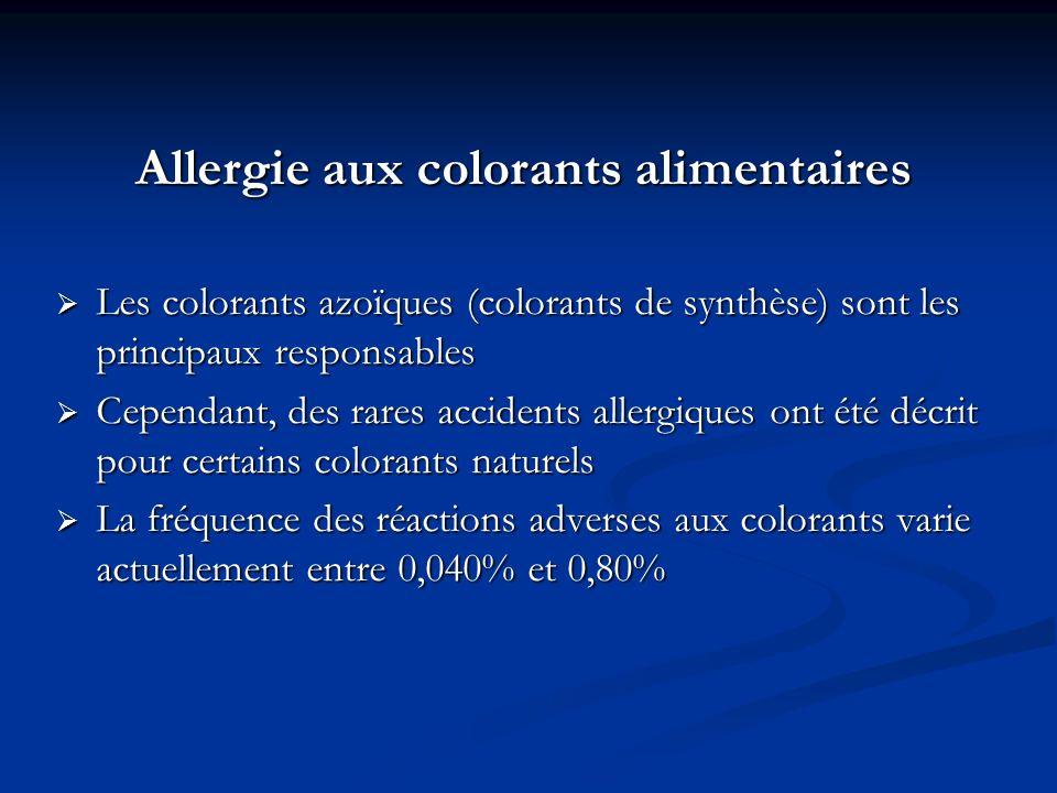 Allergie aux colorants alimentaires Les colorants azoïques (colorants de synthèse) sont les principaux responsables Les colorants azoïques (colorants