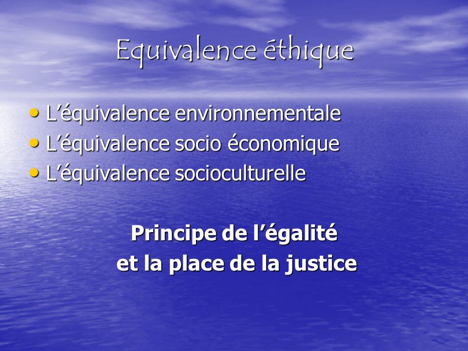 Léquivalence environnementale Léquivalence environnementale Léquivalence socio économique Léquivalence socio économique Léquivalence socioculturelle L