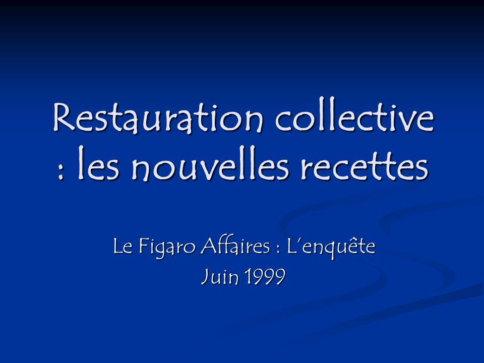 Restauration collective : les nouvelles recettes Le Figaro Affaires : Lenquête Juin 1999