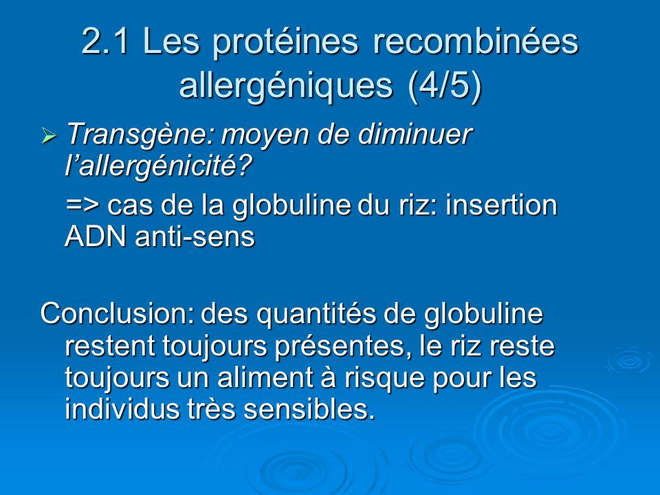 2.1 Les protéines recombinées allergéniques (4/5) Transgène: moyen de diminuer lallergénicité? Transgène: moyen de diminuer lallergénicité? => cas de