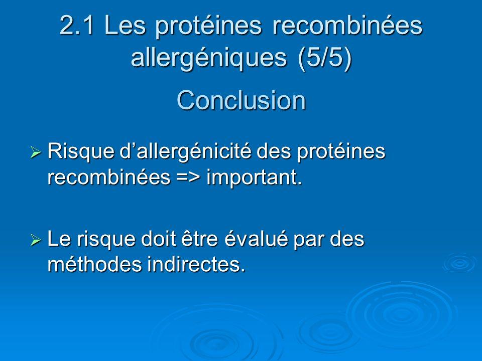 2.1 Les protéines recombinées allergéniques (5/5) Conclusion Risque dallergénicité des protéines recombinées => important. Risque dallergénicité des p