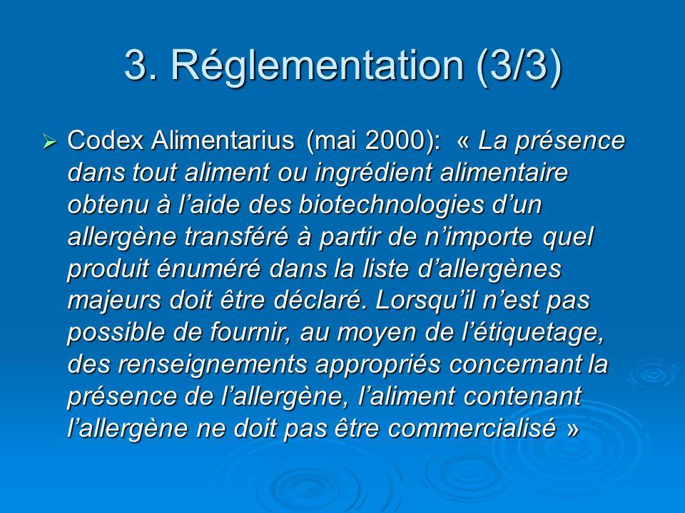3. Réglementation (3/3) Codex Alimentarius (mai 2000): « La présence dans tout aliment ou ingrédient alimentaire obtenu à laide des biotechnologies du