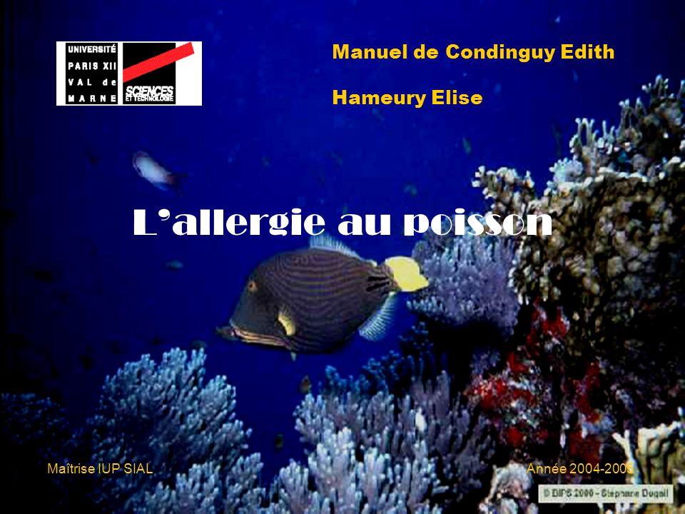 INTRODUCTION - Lallergie est en pleine croissance dans les pays industrialisés - Le poisson représente 3 % des allergies alimentaires Plan: 1) Généralités sur le poisson 2) Etudes de quelques allergènes présents dans le poisson 3) Symptômes / Diagnostique / Traitements / Effets des traitements sur le poisson 4) Réglementation 5) Réactions adverses