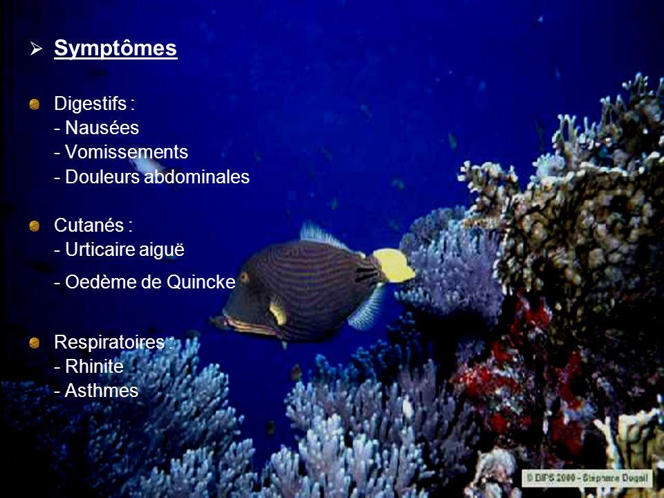 Symptômes Digestifs : - Nausées - Vomissements - Douleurs abdominales Cutanés : - Urticaire aiguë - Oedème de Quincke Respiratoires : - Rhinite - Asth