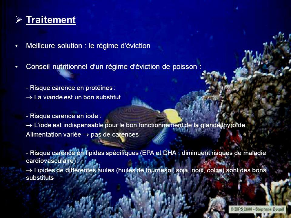 Traitement Meilleure solution : le régime déviction Conseil nutritionnel dun régime déviction de poisson : - Risque carence en protéines : La viande e