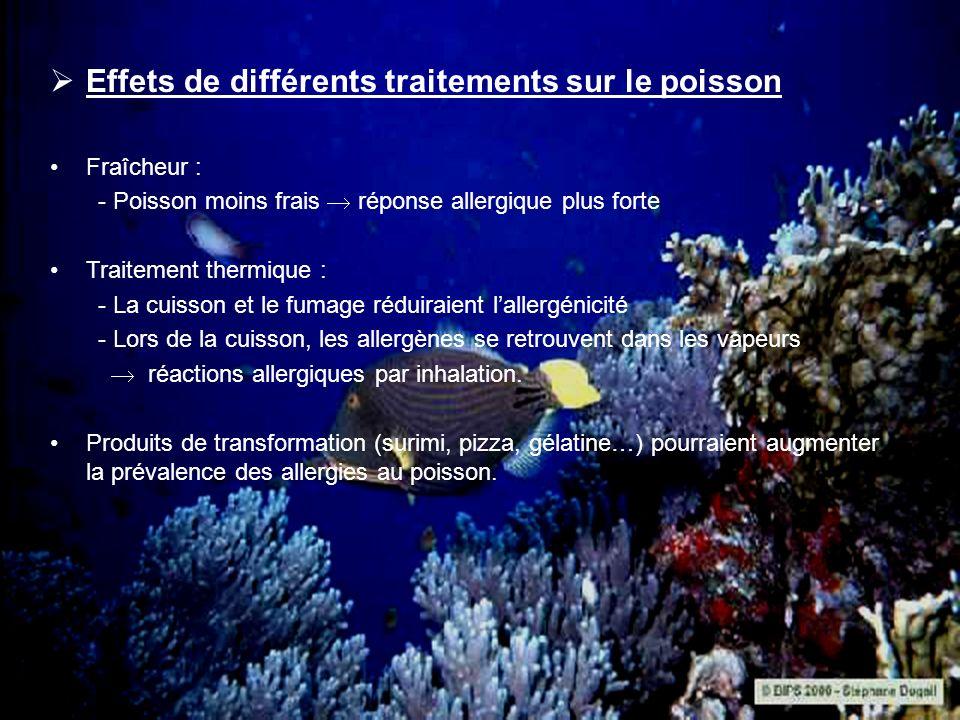 Effets de différents traitements sur le poisson Fraîcheur : - Poisson moins frais réponse allergique plus forte Traitement thermique : - La cuisson et