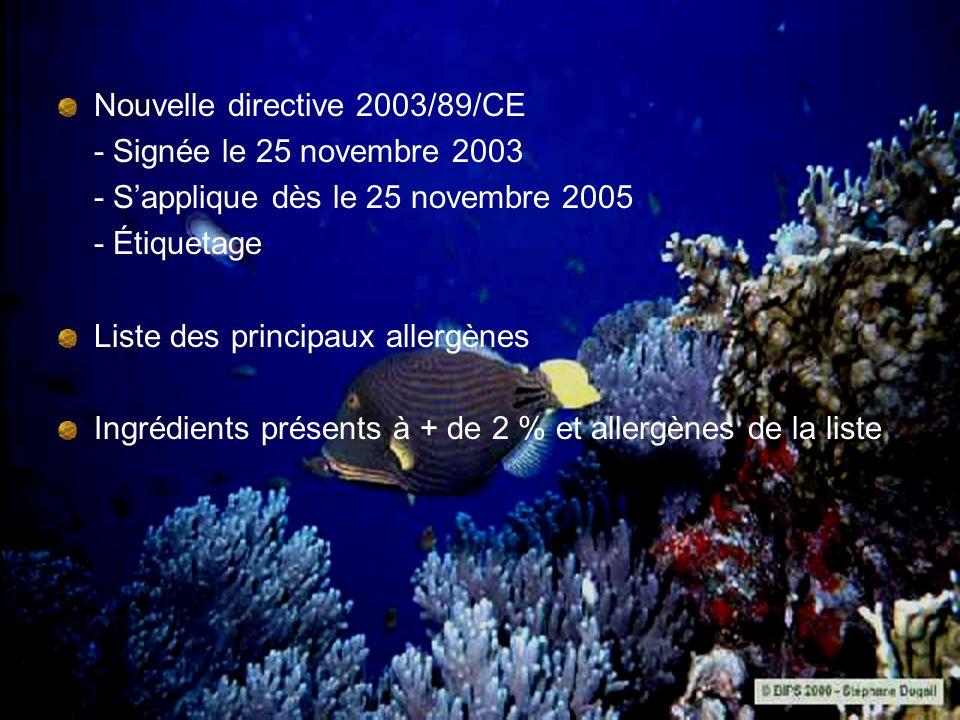 Nouvelle directive 2003/89/CE - Signée le 25 novembre 2003 - Sapplique dès le 25 novembre 2005 - Étiquetage Liste des principaux allergènes Ingrédient