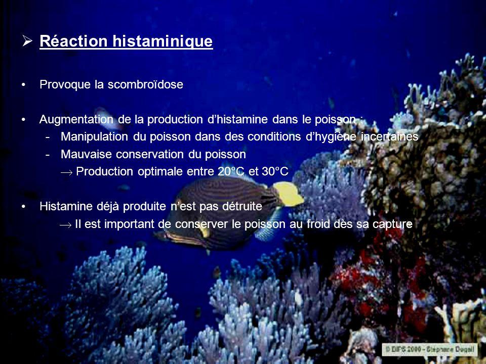 Réaction histaminique Provoque la scombroïdose Augmentation de la production dhistamine dans le poisson : -Manipulation du poisson dans des conditions