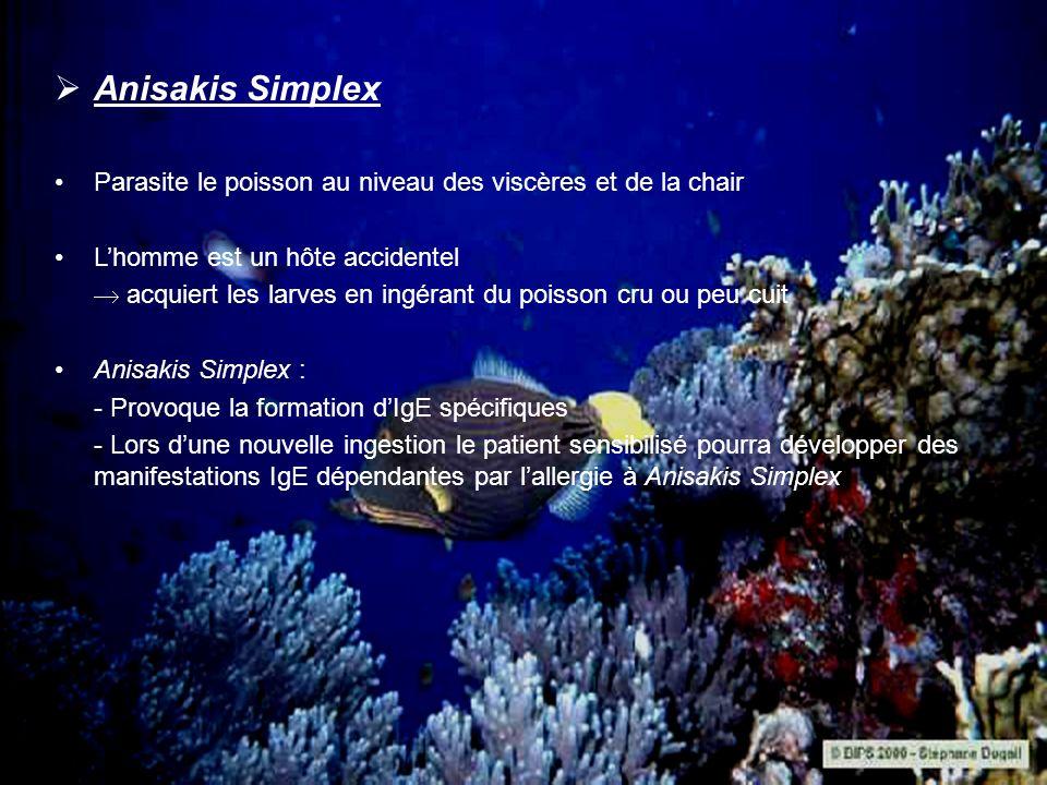 Anisakis Simplex Parasite le poisson au niveau des viscères et de la chair Lhomme est un hôte accidentel acquiert les larves en ingérant du poisson cr