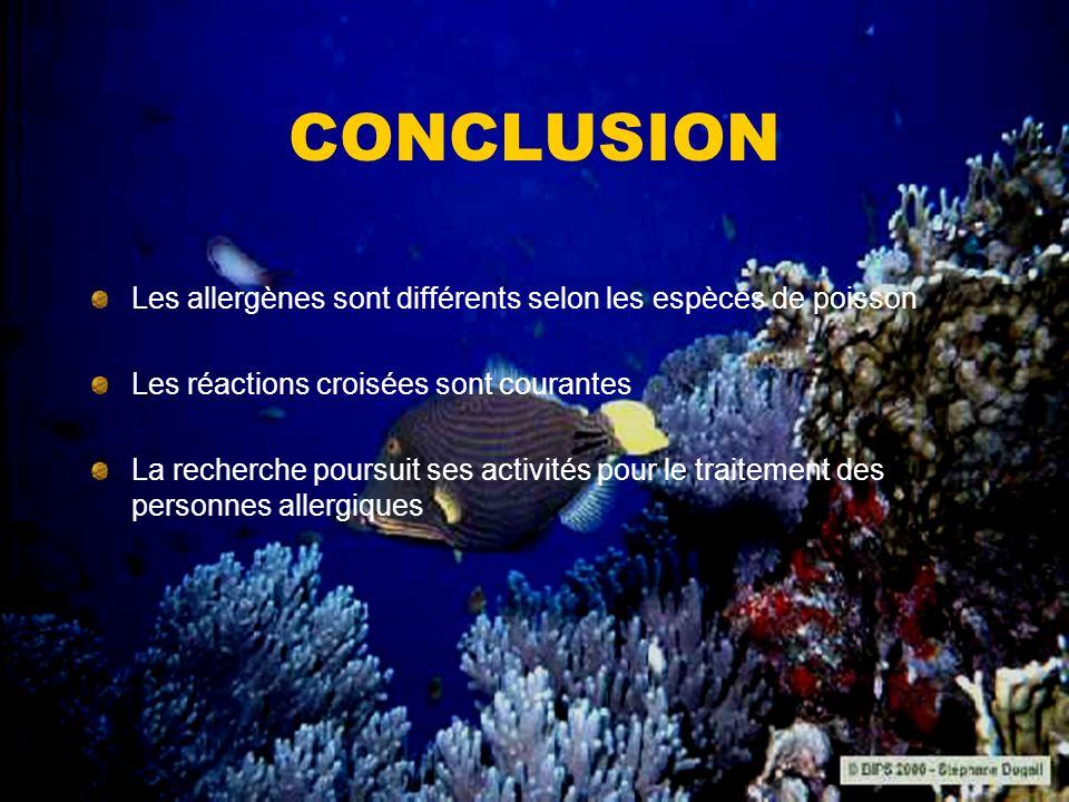 CONCLUSION Les allergènes sont différents selon les espèces de poisson Les réactions croisées sont courantes La recherche poursuit ses activités pour