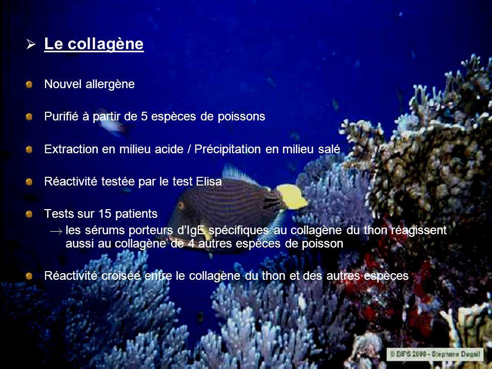 Le collagène Nouvel allergène Purifié à partir de 5 espèces de poissons Extraction en milieu acide / Précipitation en milieu salé Réactivité testée pa