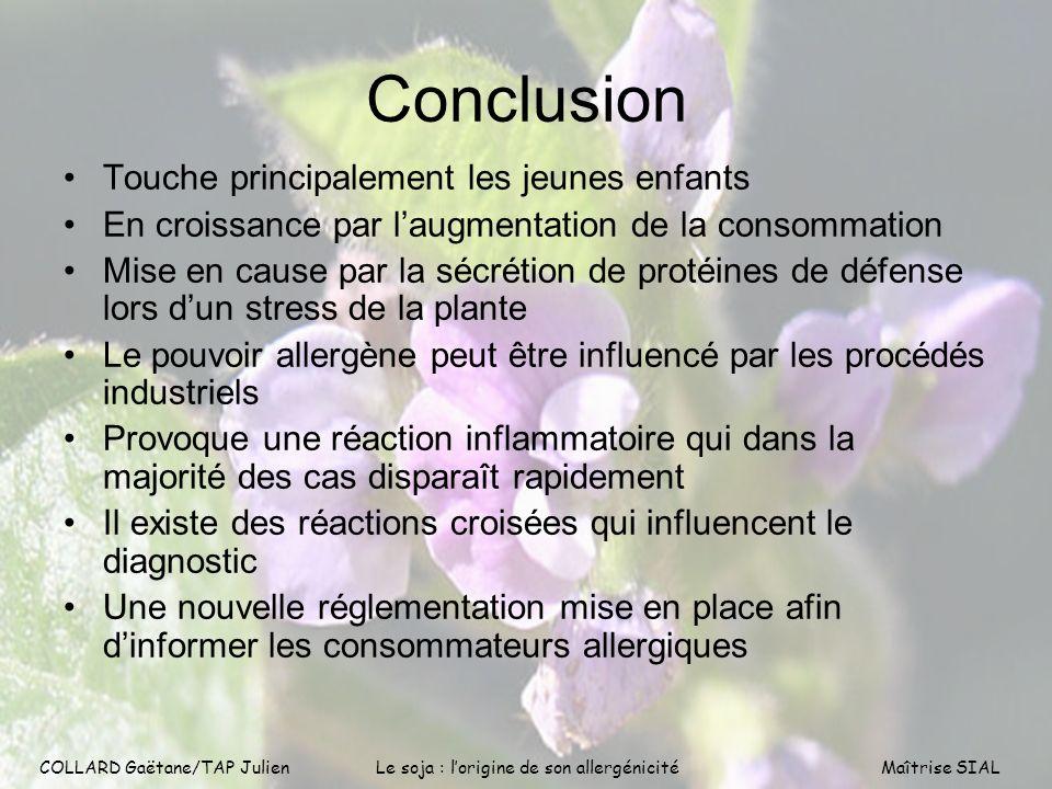 COLLARD Gaëtane/TAP Julien15 COLLARD Gaëtane/TAP Julien Le soja : lorigine de son allergénicitéMaîtrise SIAL Conclusion Touche principalement les jeun