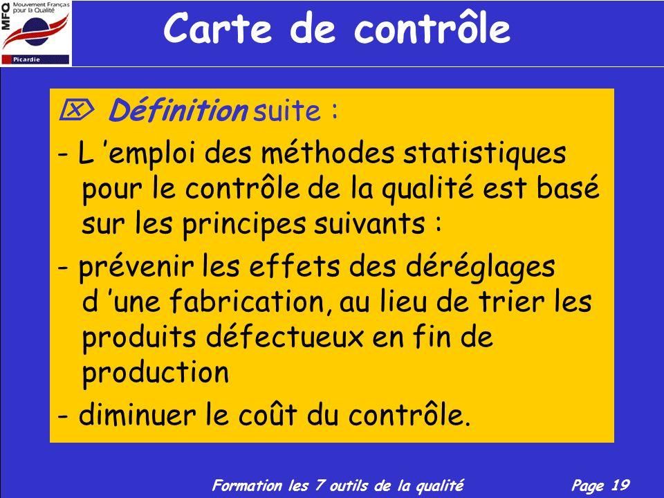 Formation les 7 outils de la qualitéPage 18 Carte de contrôle Définition suite : La carte de contrôle constitue un outil essentiel pour le contrôle st