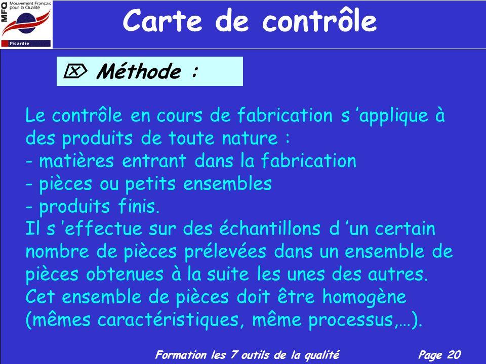 Formation les 7 outils de la qualitéPage 19 Carte de contrôle Définition suite : - L emploi des méthodes statistiques pour le contrôle de la qualité e
