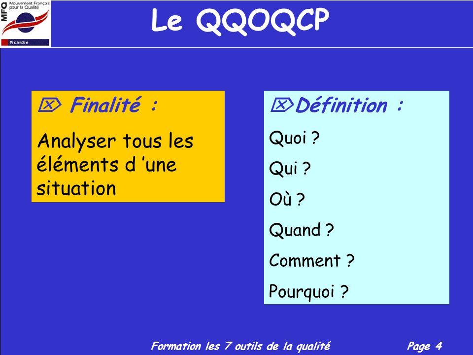 Formation les 7 outils de la qualitéPage 4 Le QQOQCP Finalité : Analyser tous les éléments d une situation Définition : Quoi .